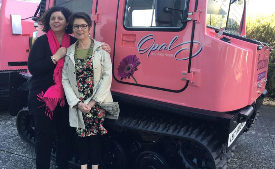 Antarctic snow vehicle goes pink in support of hope